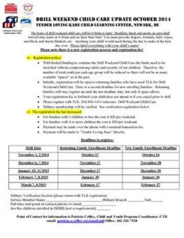 Drill Weekend Child Care Update October 2014 - Tender Loving Kare Child Learning Center, Newark, Delaware.