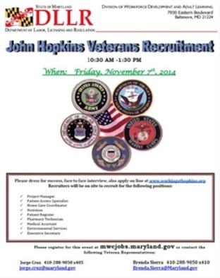 John Hopkins Veterans Recruitment event Nov. 7, 2014