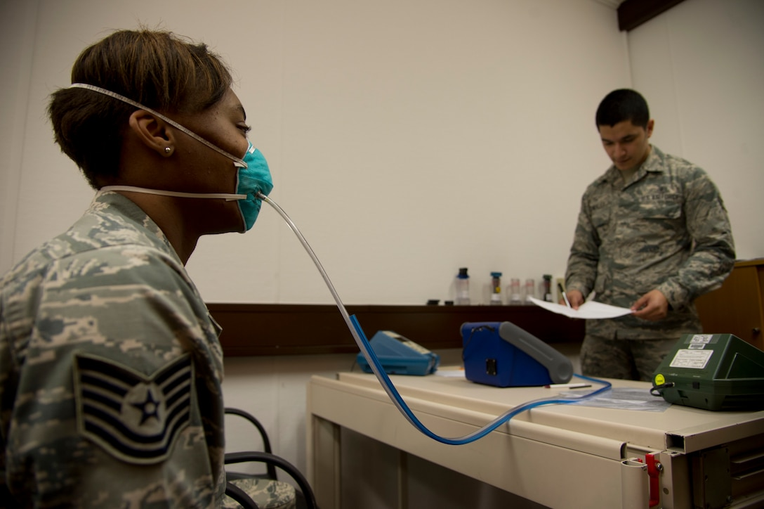 Tech. Sgt. Saquadrea Crosby gets fitted for an N95 respirator by Airman 1st Class Aaron Gonzalez  Oct. 17, 2014, at Ramstein Air Base, Germany. The N95 respirator is a device that is used to help prevent the spread of germs (viruses and bacteria) from one person to another. As members of the 86th Airlift Wing continue to support missions for Operation United Assistance, Airmen who are expected to interact with returnees from Ebola affected areas will be fitted for the N95 respirators. Crosby is the 86th Aerospace Medicine Squadron public health NCO in charge and Gonzalez is an 86th Bioenvironmental Engineering technician. (U.S. Air Force photo/Staff Sgt. Sara Keller)