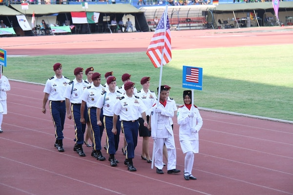 Team USA marching in during the opening ceremony of the 38th Conseil International du Sport Militaire (CISM) in Solo, Indonesia 17-28 September