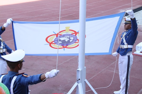 Raising of the CISM Flag during the opening ceremony of the 38th Conseil International du Sport Militaire (CISM) in Solo, Indonesia 17-28 September