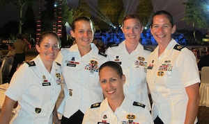 US Women Armed Forces Parachuting Team at Prambanan Temple (site for the closing banquet). SFC Jennifer Davidson, SFC Laura Dickmeyer, SFC Angela Nichols, SFC Jennifer Espinosa, SFC Dannielle Woosley (in front)