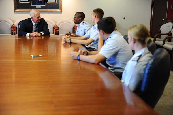 "Chelsey ""Sully"" Sullenberger, who saved 155 lives on Flight 1549 after a heroic emergency landing on the Hudson River in 2009, visits with cadets here Oct. 20, 2014. (U.S. Air Force photo/Amber Baillie)"