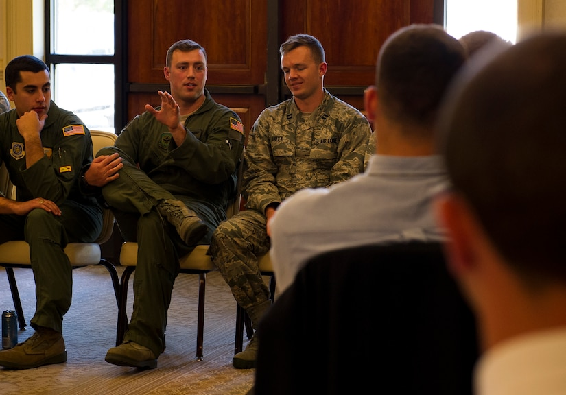 Capt. Jerry Coscarelli, 16th Airlift Squadron pilot, speaks with cadets from from Air Force Detachment 765 at The Citadel in Charleston, S.C., at the Charleston Club on Joint Base Charleston, S.C. The cadets were given the opportunity to listen to JB Charleston company grade officers during a mentorship conference where the cadets learned  about the different jobs and careers available to them, and also the demands expectated from future second lieutenents.  (U.S. Air Force photo/Airman 1st Class Clayton Cupit)