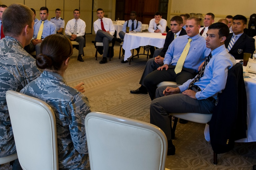 Cadets from Air Force Detachment 765 at The Citadel in Charleston, S.C.,   listen to Joint Base Charleston company grade officers as they speak about their respective careers and overall Air Force mission Oct. 22, 2014, at the Charleston Club on JB Charleston, S.C. The cadets were given the opportunity to listen to JB Charleston CGO's during a mentorship conference where the cadets learned about the different jobs and careers available, and also the demands expected of future second lieutenents.  (U.S. Air Force photo/Airman 1st Class Clayton Cupit)