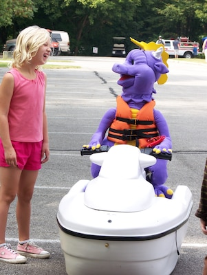Seamoor the Sea Serpent encourages young Hoosiers to always wear their life jackets.
