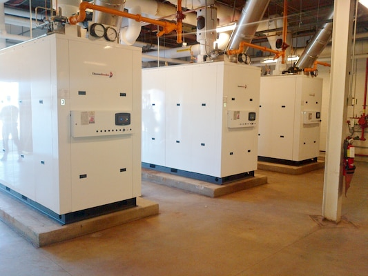 Three new boilers are operating at the Defense Finance and Accounting Services offices, Columbus, Ohio.