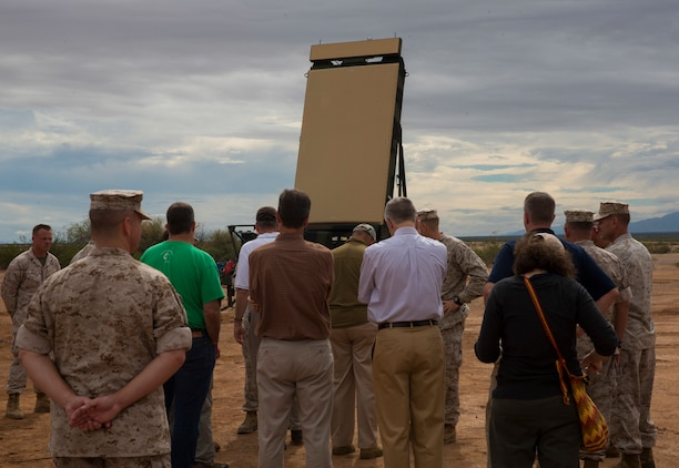 Visiting VIPs observe the Ground/Air Task Oriented Radar (G/ATOR) aboard Marine Corps Air Station Yuma, Ariz., Range 50, Oct. 8. The G/ATOR and the Common Aviation Command Control System (CAC2S) will be Marine Air-Ground Task Force enablers that, when paired together, can drastically increase an Air Combat Element commander's situational awareness.