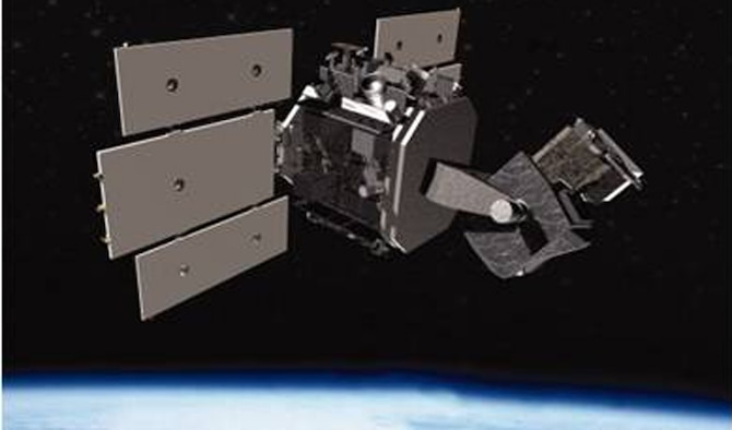 An artist's depiction of the Space Based Space Surveillance satellite. The Joint Space Operations Center uses data collected from the SBSS to track orbiting objects in geostationary low and medium earth orbit, providing space situational awareness to U.S. military and commercial space users. Members of the 1st Space Operations Squadron command and control the satellite. (Courtesy graphic)