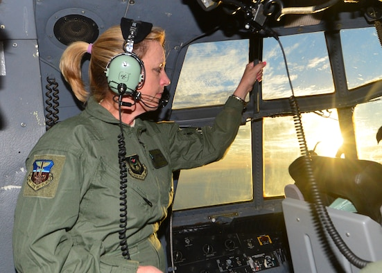 Secretary of the Air Force Deborah Lee James looks out a window on board an AC-130U Spooky Gunship, Oct. 20, 2014. During her two-day visit to Hurlburt Field, Fla., James met with Airmen and got a first-hand look at Air Commando operations. (U.S. Air Force photo/Senior Airman Christopher Callaway)