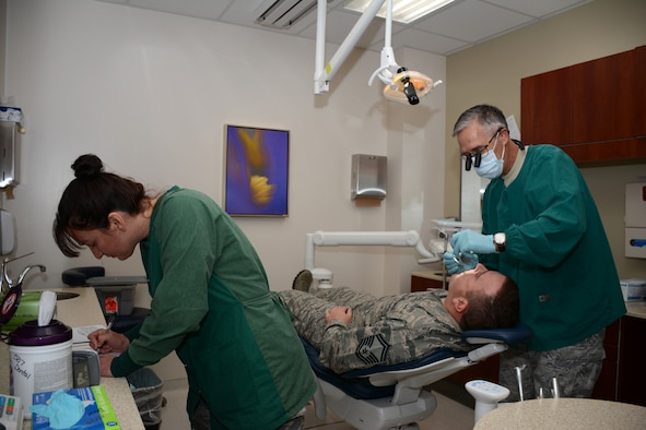 Master Sgt. Melissa Long, Dental Hygienist in the 507th Medical Squadron, annotates