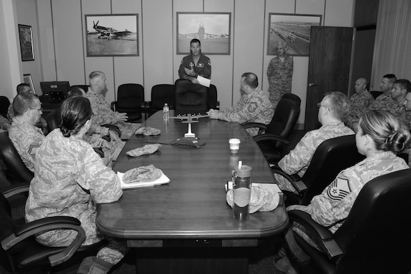 "Col. Frank Detorie, commander of the 103rd Airlift Wing, addresses approximately 25 Airmen who are newly appointed members of the wing's inspection team, at Bradley Air National Guard Base, East Granby, Conn., June 10, 2014.  ""You all are charged with administering what's called the CCIP, that's the commander's inspection program—that's my program. What that means is while you are out there doing this job, you speak for me,"" said Detorie.  (U.S. Air National Guard photo by Tech. Sgt. Joshua Mead)"