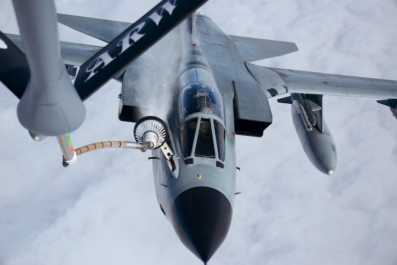 A German Luftwaffe Tornado disconnects from the boom of a KC-135 Stratotanker Oct. 14, 2014, over Germany. Since the beginning of fiscal year 2015, Airmen at Royal Air Force Station Mildenhall, England, have performed 62 air refueling missions. (U.S. Air Force photo/Airman 1st Class Dillon Johnston)