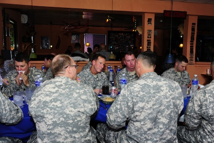 Maj. Gen. Joseph P. DiSalvo, Commanding General, U.S. Army South, ate lunch with Joint Task Force-Bravo leaders, which was then followed by a tour of the new construction areas on Soto Cano Air Base, Honduras, Oct. 21, 2014.  Newly constructed areas included the new Finance and Post Offices, as well as the building that will house the 228th Squadron.. (Photo by Martin Chahin)