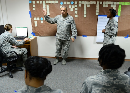 Tech. Sgt. Max Gonzales, 39th Force Support Squadron manpower analyst, facilitates an Air Force Smart Operations of the 21st century event on the stork nesting program Oct. 23, 2014, Incirlik Air Base, Turkey. Gonzales guides the process through the appropriate stages. (U.S. Air Force photo by Staff Sgt. Eboni Reams/Released)