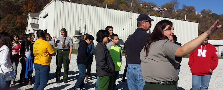 Middle School students from Bryan and Norris in Omaha Nebraska toured the Missouri River Project facility with Corps representatives, from left, Ruth Bentzinger, Alan Schmidt, and Angela Pletka.