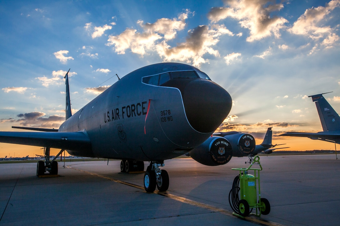 The sun rises on 108th Wing KC-135R Stratotankers on the New Jersey Air National Guard flight line at Joint Base McGuire-Dix-Lakehurst, N.J., Sept. 26, 2014. (U.S. Air National Guard photo by Master Sgt. Mark C. Olsen/Released)