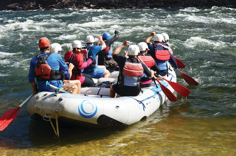 Just below the Summersville Dam, some of the season's first whitewater rafters begin their trip down the challenging Gauley.