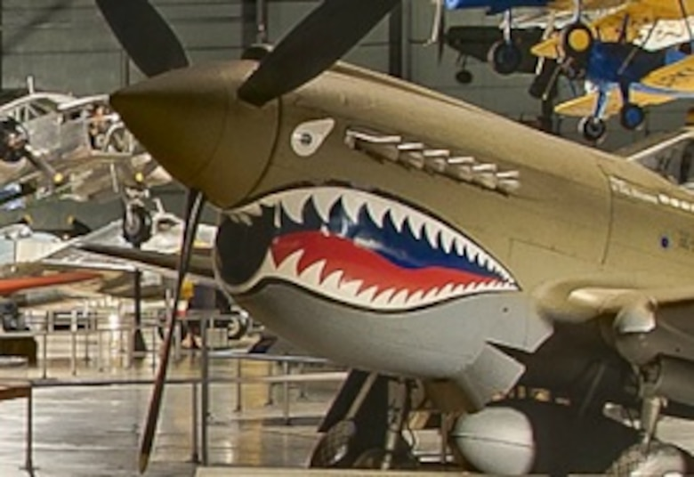 WORLD WAR II GALLERY - Around the B-25, discover a hungry shark mouth. (Screenshot from NMUSAF Virtual Tour)
