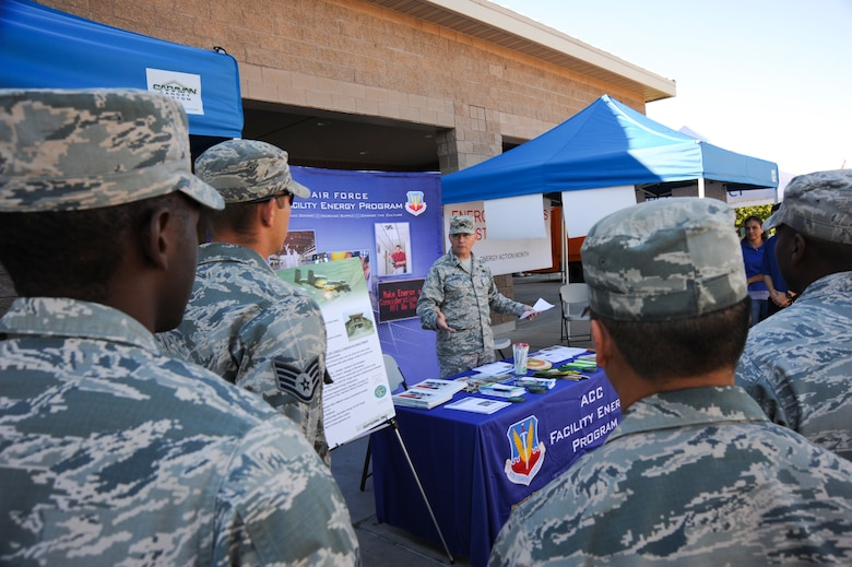 "U.S. Air Force Colonel Rodger Schuld, 355th Mission Support Group commander, speaks to Airmen and patrons outside the D-M Exchange on the development of energy conservation in the Air Force at Davis-Monthan Air Force Base, Ariz., Oct. 22, 2014. This year's campaign, ""I am Air Force Energy"", is focused on educating Airmen and inspiring the total force to be more energy efficient for greater mission effectiveness. (U.S. Air Force photo by: Staff Sgt. Angela Ruiz/Released)"