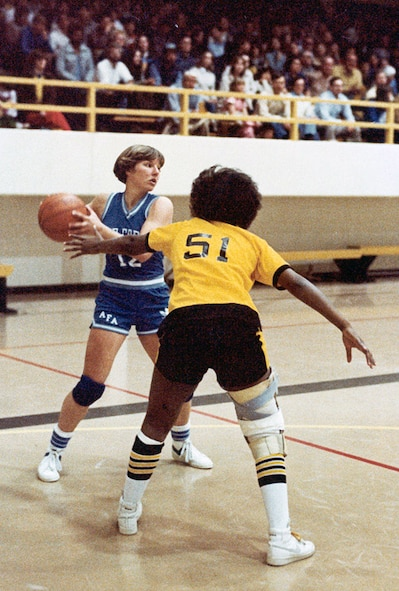 Lt. Gen. Michelle D. Johnson, Academy superintendent, played on the Air Force Academy women's basketball team in the late '70s and early '80s. Johnson is a 1981 Air Force Academy graduate and four-year letter winner on the women's basketball team. She was inducted into the Colorado Springs Sports Hall of Fame Oct. 28, 2014. (U.S. Air Force photo)
