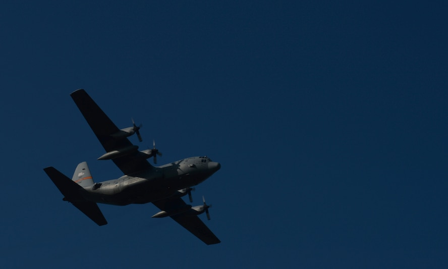 "A U.S. Air Force C-130 Hercules cargo aircraft assigned to the 182nd Airlift Wing, Illinois Air National Guard, Peoria, Ill., participates in a ""turkey shoot"" training mission Oct. 24, 2014, at Powidz Air Base, Poland. Roughly50 Airmen and three C-130s from the 182nd AW were involved in bilateral training with the Polish air force hosted by U.S. Air Force Aviation Detachment 1, 52nd Operations Group, Lask Air Base, Poland. (U.S. Air Force photo by Airman 1st Class Dylan Nuckolls/Released)"