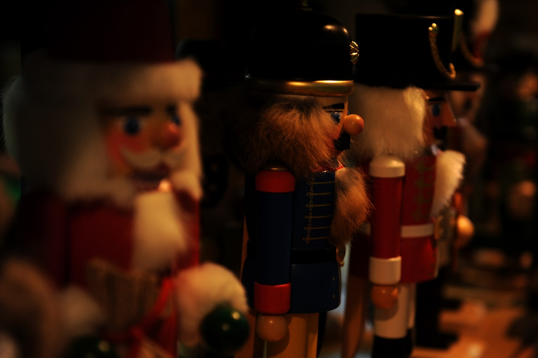 Wooden nutcrackers are displayed at a vendor's stand during the 2014 Holiday Bazaar in Hangar 1 at Spangdahlem Air Base, Germany, Oct. 25, 2014. The bazaar hosted products from various vendors in different parts of Europe. (U.S. Air Force photo by Airman 1st Class Timothy Kim/Released)