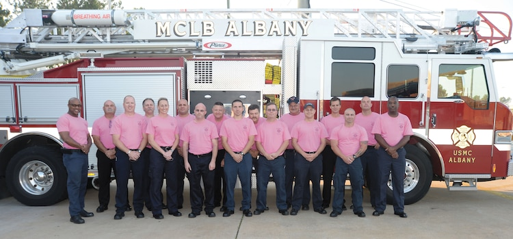 Phillip Partin, fire chief (fourth from right), and Marine Corps Logistics Base Albany's Fire and Rescue team show their support in the fight against breast cancer by wearing pink T-shirts during this month, which is set aside to raise awareness of the illness.