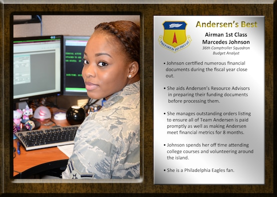Airman 1st Class Marcedes Johnson, 36th Comptroller Squadron budget analyst, certified numerous financial documents during the fiscal year close out. She manages outstanding order listings to ensure all of Team Andersen is paid promptly as well as making Andersen meet financial metrics 8 months. (U.S. A ir Force photo by Senior Airman Cierra Presentado/Released)