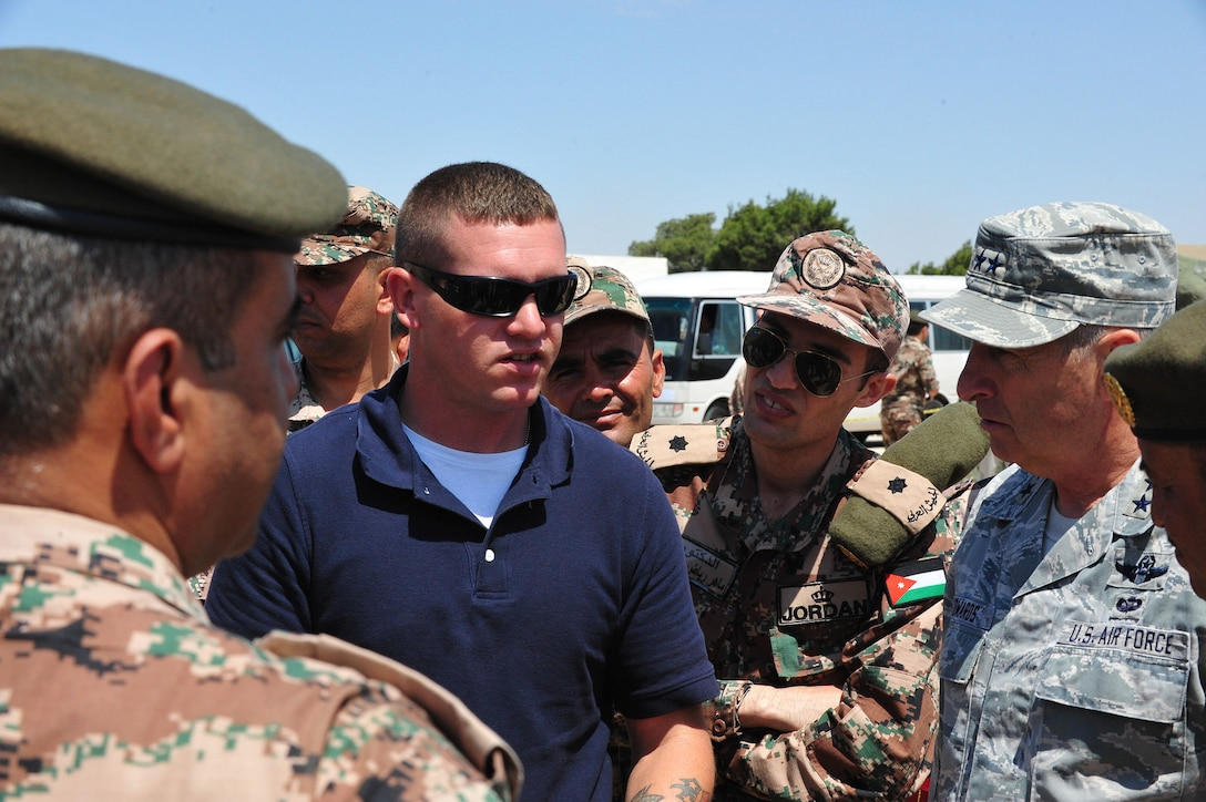Maj. Gen. H. Michael Edwards, the Adjutant General of Colorado, and other Colorado National Guard senior leaders observe a training exercise facilitated by the CONG Chemical, Biological, Radiological and Nuclear (CBRN) Enhanced Response Force Package (CERFP) team at Maffaq Armor Base, Jordan, May 12, 2014. (Army National Guard photo by 1st Lt. Skye Robinson)