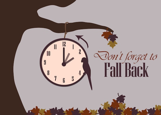 GOODFELLOW AIR FORCE BASE, Texas - Fall is here and daylight saving time ends at 2 a.m., Nov. 2. Individuals are reminded to set their clocks back an hour. Daylight saving is a perfect time to check fire, smoke and carbon monoxide alarms, and to change out batteries. (U.S. Air Force graphic/ Rebecca Amber)