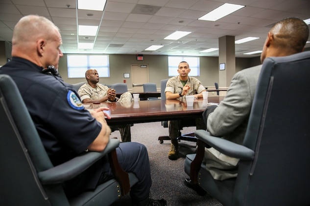 The Police Chiefs' Association held their monthly meeting aboard Marine Corps Air Station Beaufort, Oct. 23. Representatives from departments included the Marine Corps' Provost Marshal's Office, FBI and City of Beaufort Police Department.