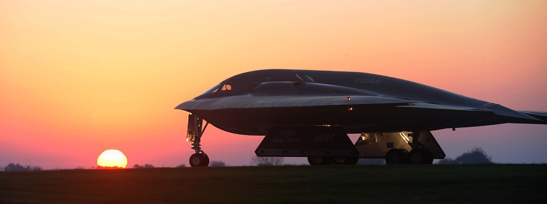 A B-2 Spirit bomber taxis on a flightline Oct. 26, 2014, during Exercise Global Thunder 15. The B-2 is one of the key aircraft used to support U.S. Strategic Command's global strike and bomber assurance and deterrence missions. Its stealth capabilities provide U.S. decision makers the capability to deter strategic attacks and, if necessary, penetrate the most secure defense systems to rapidly deliver its payload. (U.S. Air Force photo/Airman 1st Class Joel Pfiester)