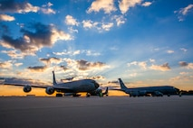 The sun rises Sept. 26, 2014, above KC-135R Stratotankers on the New Jersey Air National Guard flightline at Joint Base McGuire-Dix-Lakehurst, N.J. The KC-135Rs belong to the 108th Wing. (U.S. Air National Guard photo/Master Sgt. Mark C. Olsen)