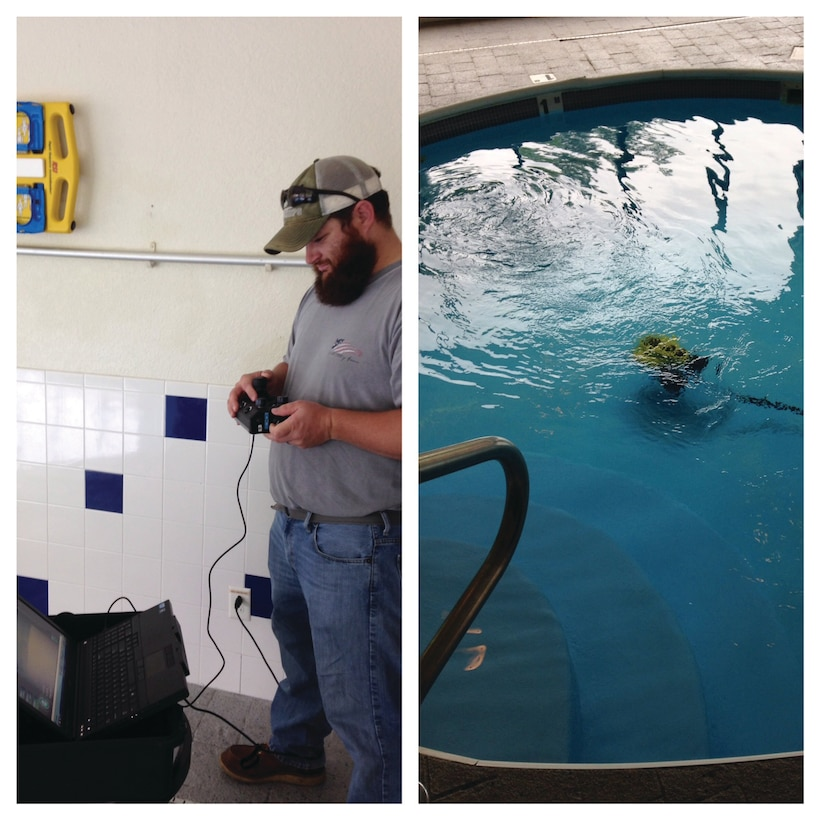What could be better than training for underwater work - without having to jump in the water? Alan Clark, Paul Barry, Mike Barry and Jacob Pauley did just that as they took Remote Operator Vehicle training in Teays Valley, W.Va. The ROVs are used to examine underwater locations for safety and to see if divers are needed.  (Photos by Jacon Pauley)