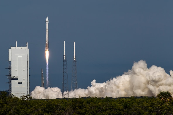 The U.S. Air Force supported the successful launch of a United Launch Alliance Atlas V rocket carrying the Air Force's eighth Block IIF navigation satellite for the Global Positioning System at 1:21 p.m. EDT Oct. 29, 2014, from Space Launch Complex 41, Cape Canaveral Air Force Station, Fla. GPS is a space-based, worldwide navigation system providing users with highly accurate, three-dimensional position, velocity and timing information 24 hours a day in all weather conditions and GPS satellites also serve and protect our warfighters by providing navigational assistance for U.S. military operations on land, at sea, and in the air. (United Launch Alliance photo/John Studwell)