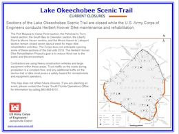 Lake Okeechobee Scenic Trail Map with Closures