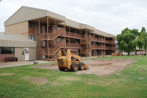 Construction begins Oct. 8 in front of the unaccompanied housing office to improve facilities, thus improving the quality of life for Airmen living in the dorms.