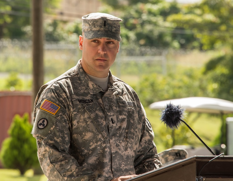 U.S. Army 1st Lt. Perry Morgan, 94th Combat Support Hospital company commander, welcomes the 94th to Soto Cano Air Base as they begin their mission as Joint Task Force-Bravo's Medical Element during the MEDEL Transfer of Authority Ceremony on Soto Cano AB, Honduras, Oct. 31, 2014.  Over the past two weeks the 228th CSH prepared the 94th CSH to take over their U.S. Southern Command mission.  The JTF-B MEDEL is the only forward deployed medical asset with and enduring presence within SOUTHCOM.  MEDEL provides medical support to DoD beneficiaries in garrison at Soto Cano AB, as well as supporting SOUTHCOM's humanitarian assistance and disaster relief efforts.  (U.S. Air Force photo/Tech. Sgt. Heather Redman)