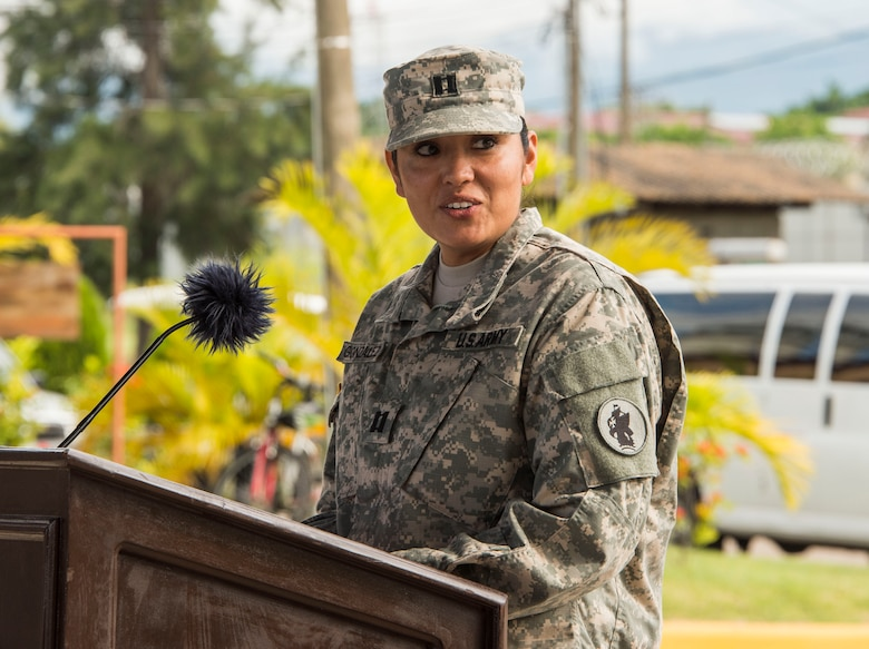 U.S. Army Capt. Mercedes Gonzalez, 228th Combat Support Hospital company commander, thanks the 228th CSH for all their hard work throughout their tenure as Joint Task Force-Bravo's Medical Element during the MEDEL Transfer of Authority Ceremony on Soto Cano Air Base, Honduras, Oct. 31, 2014.  Over the past two weeks the 228th CSH prepared the 94th CSH to take over their U.S. Southern Command mission.  The JTF-B MEDEL is the only forward deployed medical asset with and enduring presence within SOUTHCOM.  MEDEL provides medical support to DoD beneficiaries in garrison at Soto Cano AB, as well as supporting SOUTHCOM's humanitarian assistance and disaster relief efforts.  (U.S. Air Force photo/Tech. Sgt. Heather Redman)