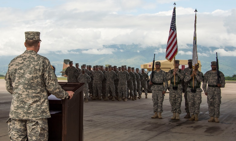 U.S. Army Col. David Wolken, Medical Element commander, thanks the 228th Combat Support Hospital for their hard work and dedication to Joint Task Force-Bravo's mission and welcomes the 94th Combat Support Hospital during the MEDEL Transfer of Authority Ceremony on Soto Cano Air Base, Honduras, Oct. 31, 2014.  Over the past two weeks the 228th CSH prepared the 94th CSH to take over their U.S. Southern Command mission.  The JTF-B MEDEL is the only forward deployed medical asset with and enduring presence within SOUTHCOM.  MEDEL provides medical support to DoD beneficiaries in garrison at Soto Cano AB, as well as supporting SOUTHCOM's humanitarian assistance and disaster relief efforts.  (U.S. Air Force photo/Tech. Sgt. Heather Redman)