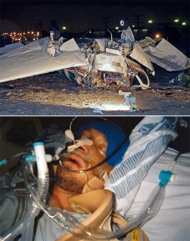 A double amputee, retired Capt. David Berling, a 56th Contracting Squadron contract specialist at Luke AFB, Ariz., lost his legs in a 2007 plane crash. Photos include the aircraft wreckage and Berling still in a coma eight days after the mishap. (Crash photo by Brad Graverson and coma photo by David Berling)
