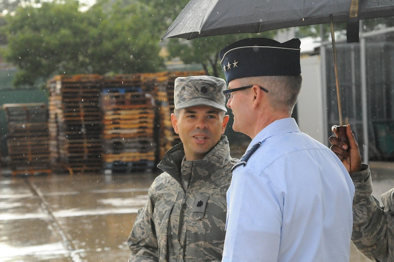 Lt. Col. Manny Cohan, 717th Air Base Squadron commander, speaks with Lt. Gen, Darryl Robertson, 3rd Air Force commander Aug. 19, 2014, Ankara, Turkey. The 717th ABS is one of two geographically-separated units under the 39th Air Base Wing. (courtesy photo)