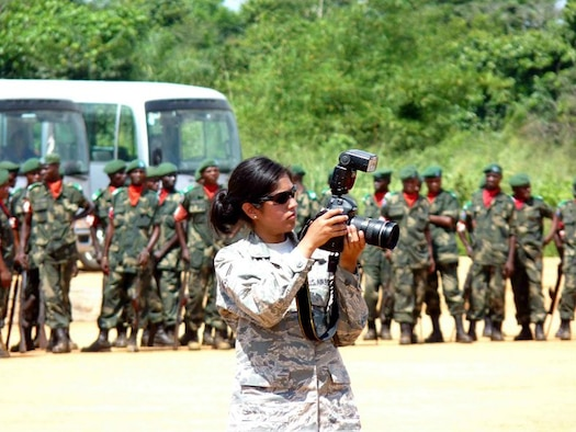 Senior Airman Christine Fink takes photos during her deployment to Africa in 2010. Fink is a member of the Comanche tribe. (Courtesy Photo)