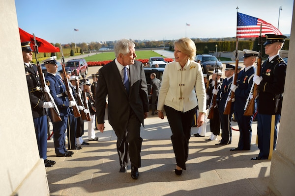 Defense Secretary Chuck Hagel hosts an honor cordon to welcome Albanian Defense Minister Mimi Kodheli to the Pentagon, Oct. 30, 2014. DoD photo by Glenn Fawcett