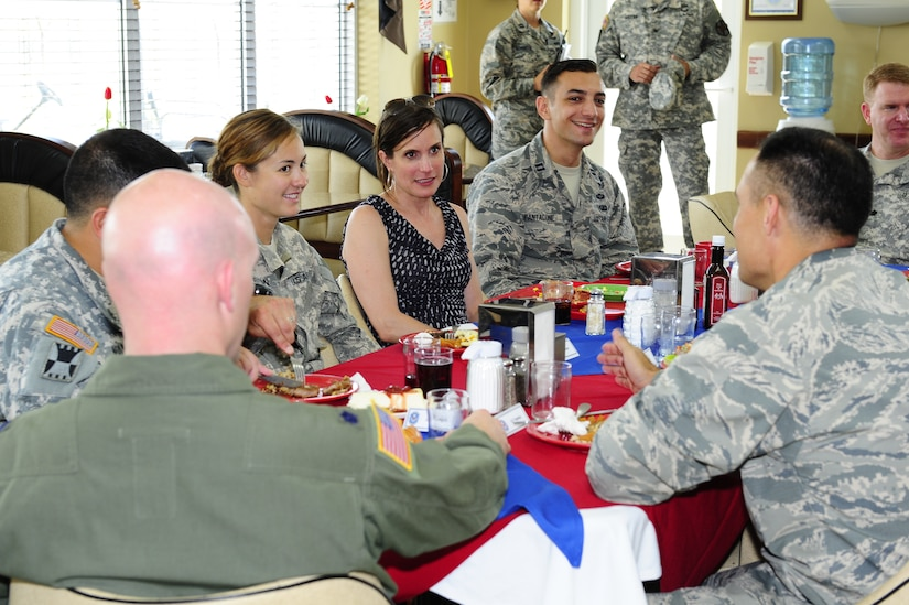 Dr. Rebecca Chavez, the Deputy Assistant Secretary of Defense for Western Hemisphere Affairs, answers questions from Joint Task Force-Bravo personnel Aug. 28 over lunch during her visit to Soto Cano Air Base, Honduras.  (Photo by Martin Chahin)