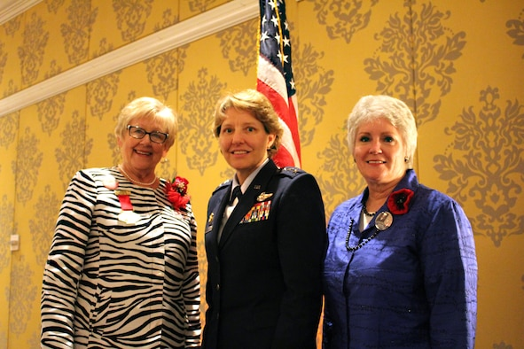 "Lt. Gen. Michelle D. Johnson, Academy superintendent, poses with 2013-2014 American Legion Auxiliary National President Nancy Brown-Park (left) and ALA National Secretary/Executive Director Mary ""Dubbie"" Bucker. Johnson received the 2014 American Legion Auxiliary Woman of the Year Award Aug. 29 during the ALA National Convention in Charlotte, N.C. (Courtesy photo by Aaron Meyer)"