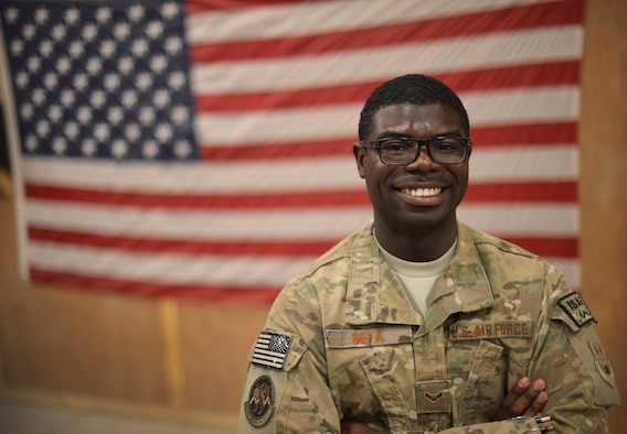 Airman 1st Class Nana Sefa is deployed to Bagram Airfield, Afghanistan, from Holloman Air Force Base, New Mexico. Following this deployment, Sefa, a native of Ghana, will see his wife for the first time after being apart for two years. Sefa is a 455th Expeditionary Logistics Readiness Squadron vehicle management analysis craftsman. (U.S. Air Force photo/Staff Sgt. Evelyn Chavez)