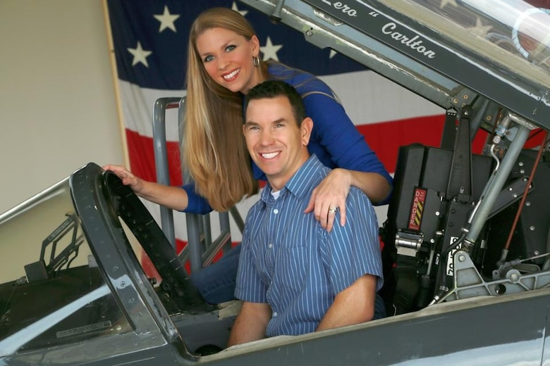 Maj. Richard Schafer, 49th Fighter Training Squadron Instructor Pilot, poses for a photo with his wife Ashley Schafer in the cockpit of a T-38C Talon. Schafer passed away following a general aviation crash Sunday night near Abilene Regional Airport in Texas. An experienced military pilot, Schafer had 2,385 hours in the T-38C Talon and F-16 Fighting Falcon. (Courtesy Photo/Edited)