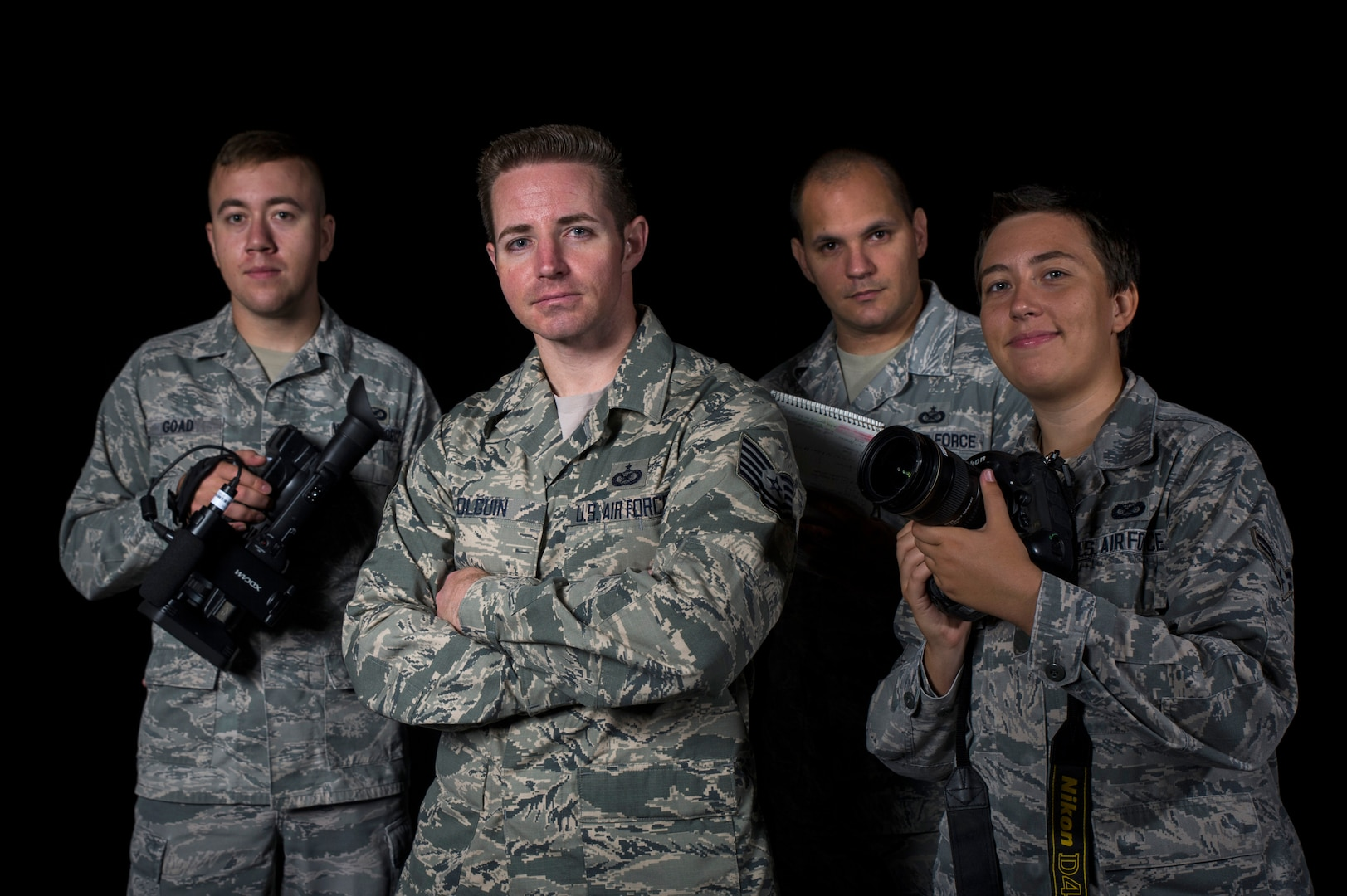 A four-Airman combat camera team of photojournalists and broadcasters from the 3rd Combat Camera Squadron, Joint Base San Antonio-Lackland, Texas, is visiting critical Air Force Space and Cyber missions throughout September.Senior Airman Alex Goad, Tech Sgt. Scott Olguin, Staff Sgt. Jarrod Chavana, and Airman 1st Class Krystal Ardrey (left to right), will travel around Air Force Space Command highlighting the mission and the people of AFSPC.  Their work will be posted on the Air Force Space Command website, Facebook page and on Twitter @afspace under #30daysAFSPC